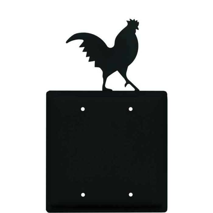 Rooster Black Double Blank Wallplate Covers