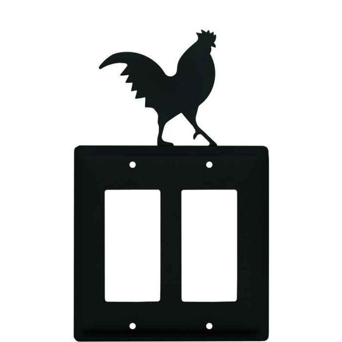 Rooster Black 2 Gang Double GFCI Rocker Decorator Wallplates
