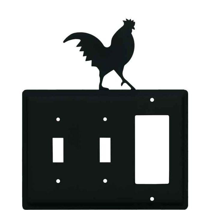Rooster Black Double 2 Toggle / 1 GFCI Rocker Combo Switchplates