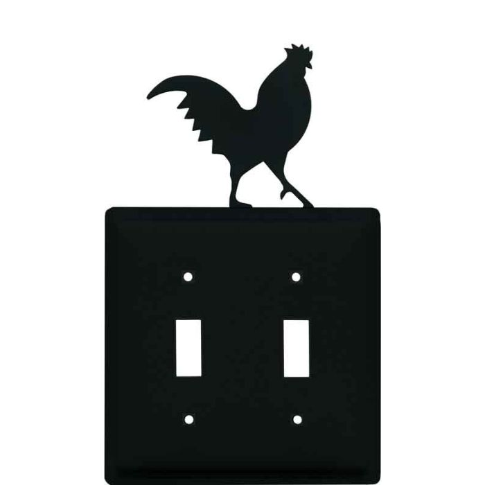 Rooster Black Double 2 Toggle Switch Plate Covers