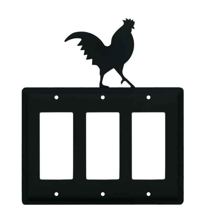 Rooster Black Triple 3 Rocker GFCI Decora Light Switch Covers