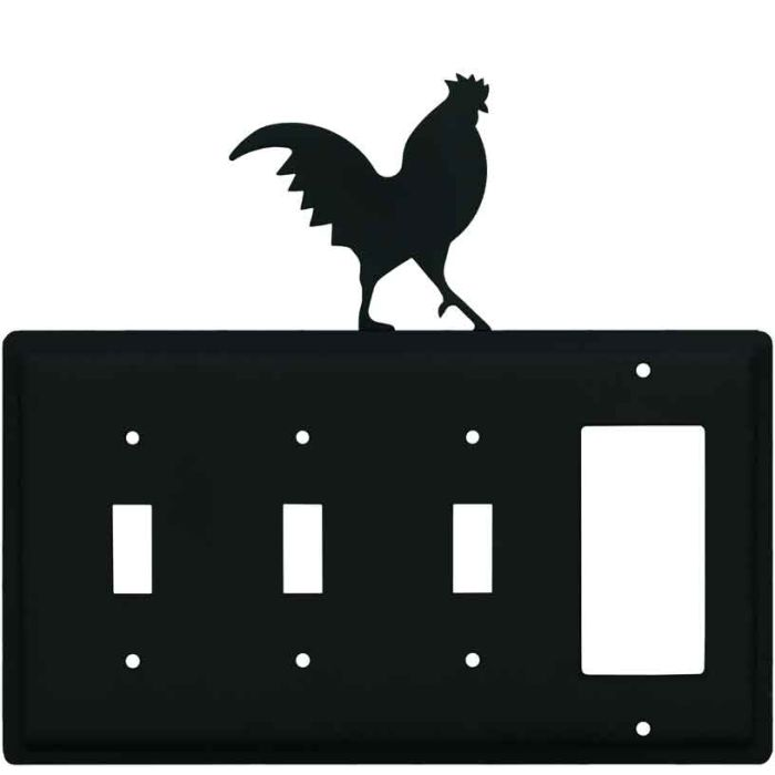 Rooster Black Triple 3 Toggle / 1 Rocker GFCI Switch Covers