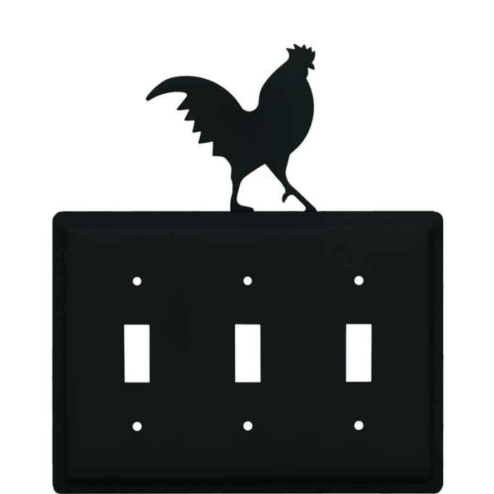 Rooster Black Triple 3 Toggle Light Switch Covers