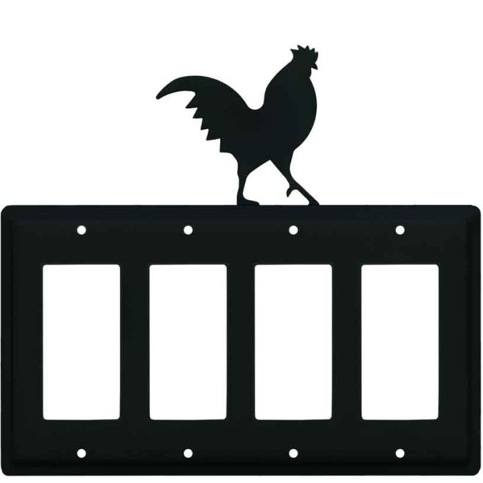 Rooster Black 4 Rocker GFCI Decorator Switch Plates