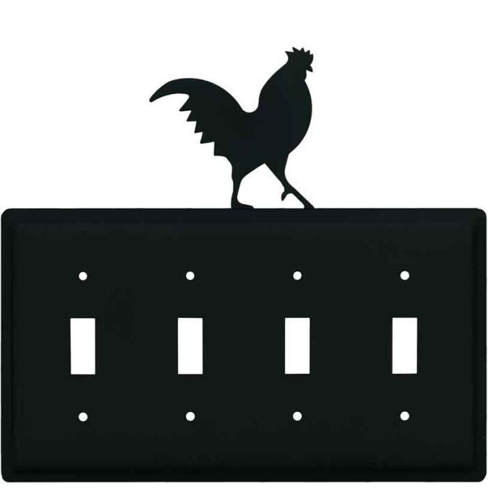 Rooster Black Quad 4 Toggle Light Switch Covers