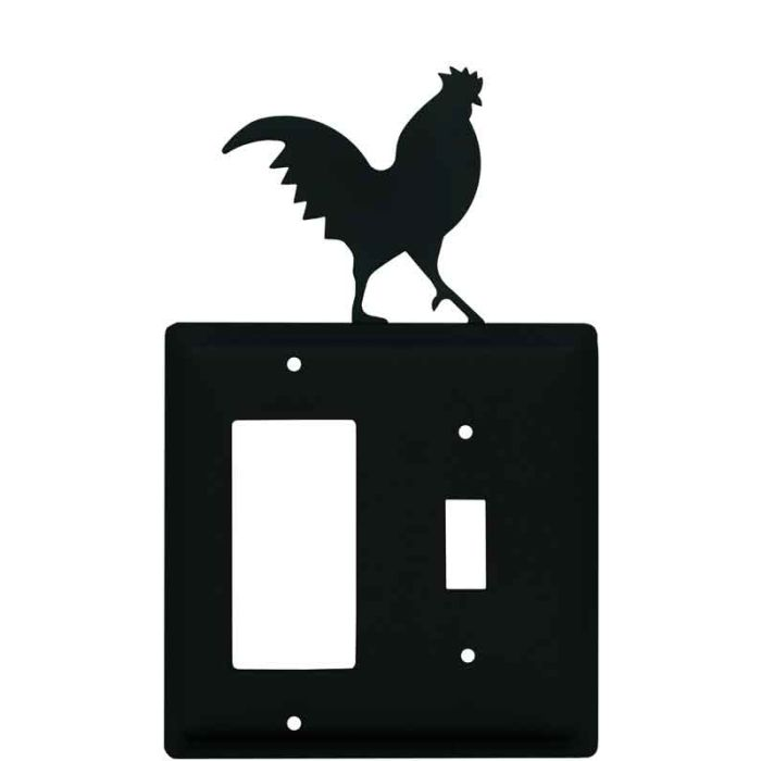 Rooster Black 1-Gang GFCI Decorator Rocker Switch Plate Cover