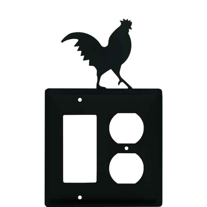 Rooster Black Combination GFCI Rocker / Duplex Outlet Wall Plates