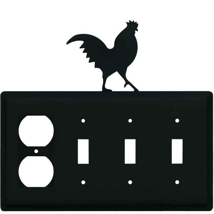 Rooster Black 1 - Gang Duplex Outlet Cover Wall Plate