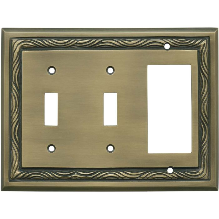 Rope Accent Antique Brass Double 2 Toggle / 1 GFCI Rocker Combo Switchplates