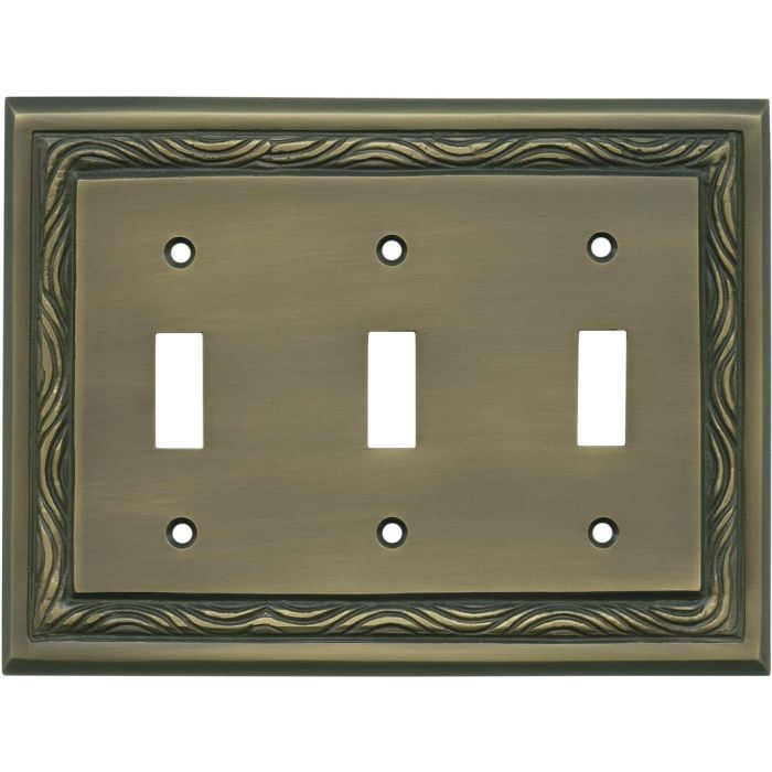 Rope Accent Antique Brass Triple 3 Toggle Light Switch Covers