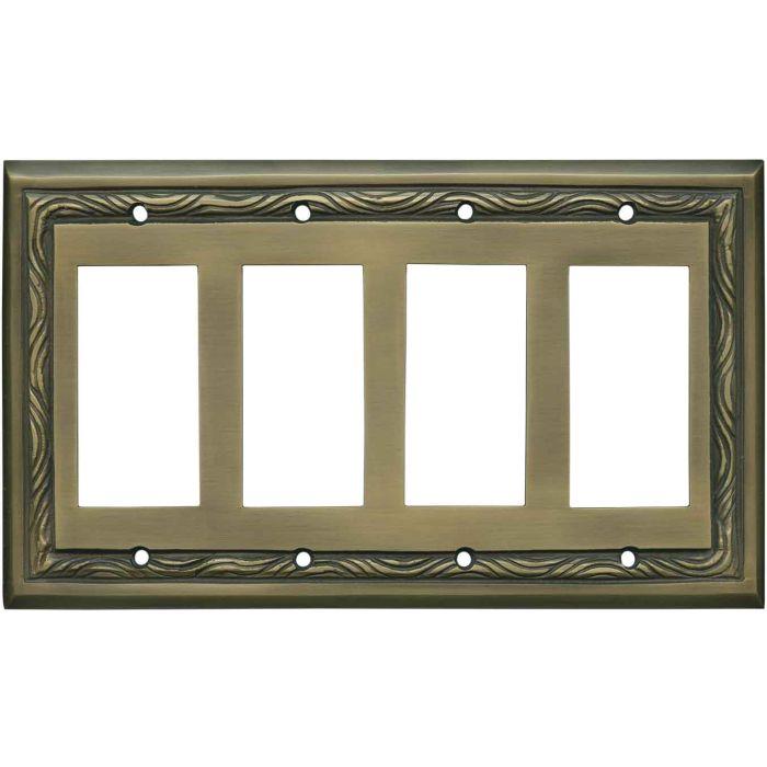 Rope Accent Antique Brass 4 Rocker GFCI Decorator Switch Plates