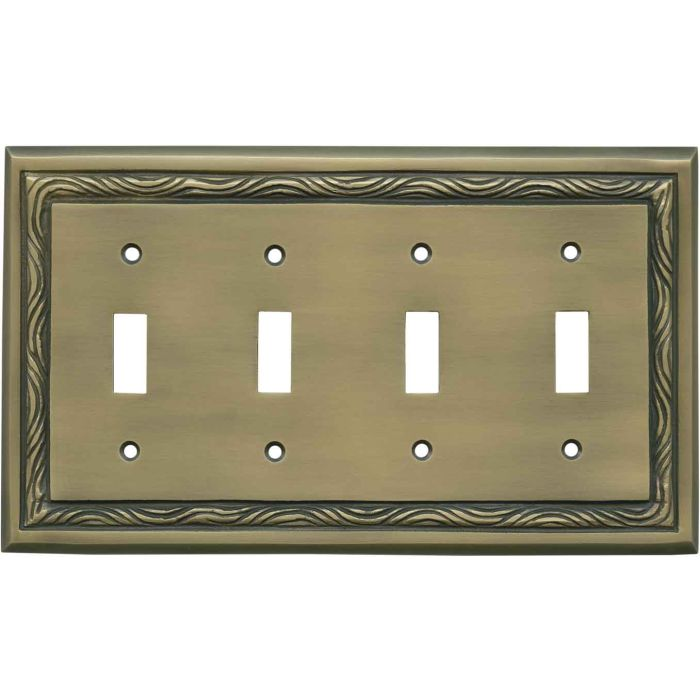Rope Accent Antique Brass - 4 Toggle Light Switch Covers