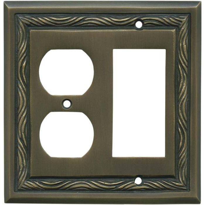 Rope Accent Antique Brass Decora GFCI Rocker / Duplex Outlet Combination Wall Plate