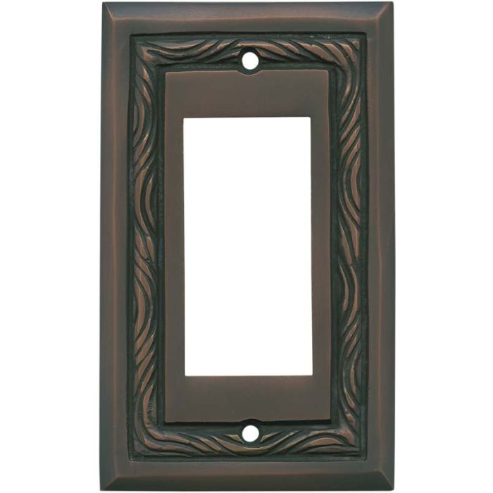 Rope Accent Antique Copper - GFCI Rocker Switch Plate Covers