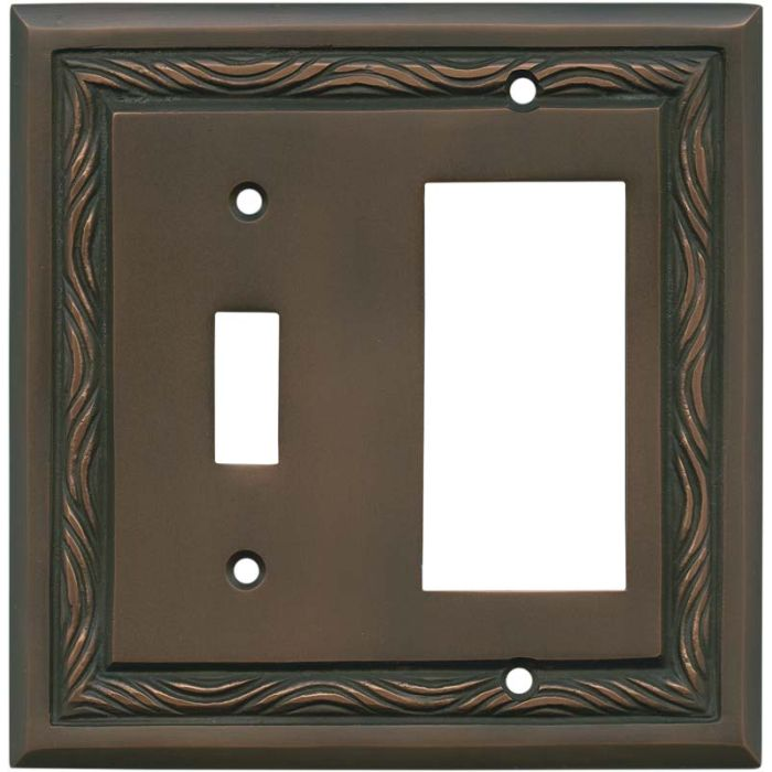 Rope Accent Antique Copper Combination 1 Toggle / Rocker GFCI Switch Covers