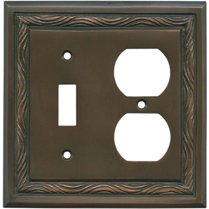 Rope Accent Antique Copper Combination 1 Toggle / Outlet Cover Plates