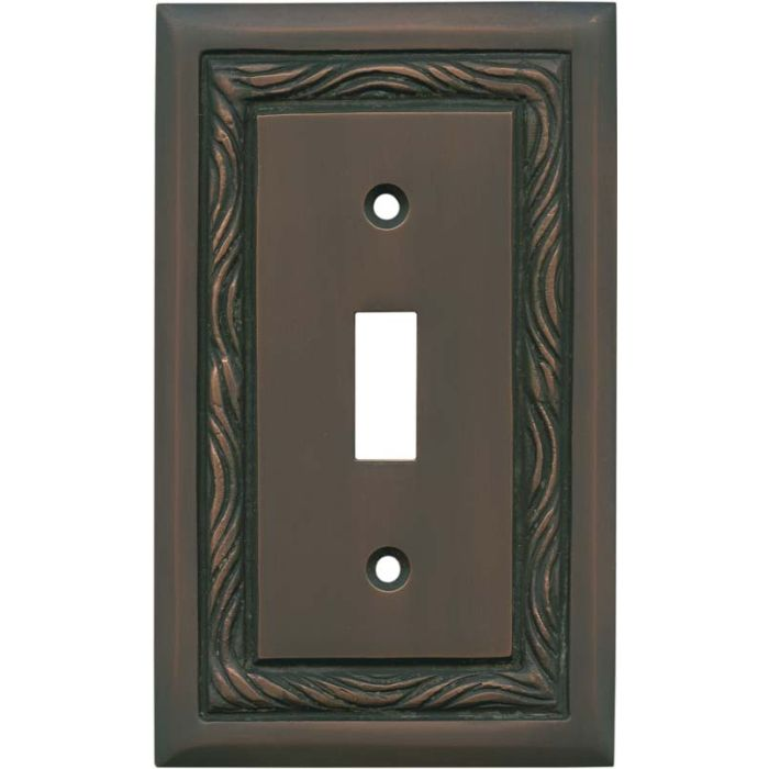 Rope Accent Antique Copper - 1 Toggle Light Switch Plates