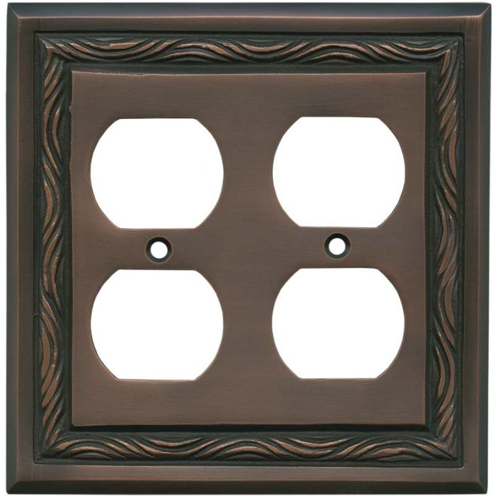Rope Accent Antique Copper 2 Gang Duplex Outlet Wall Plate Cover