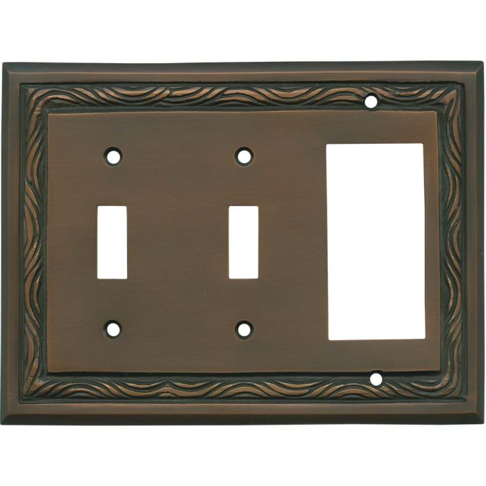 Rope Accent Antique Copper Double 2 Toggle / 1 GFCI Rocker Combo Switchplates