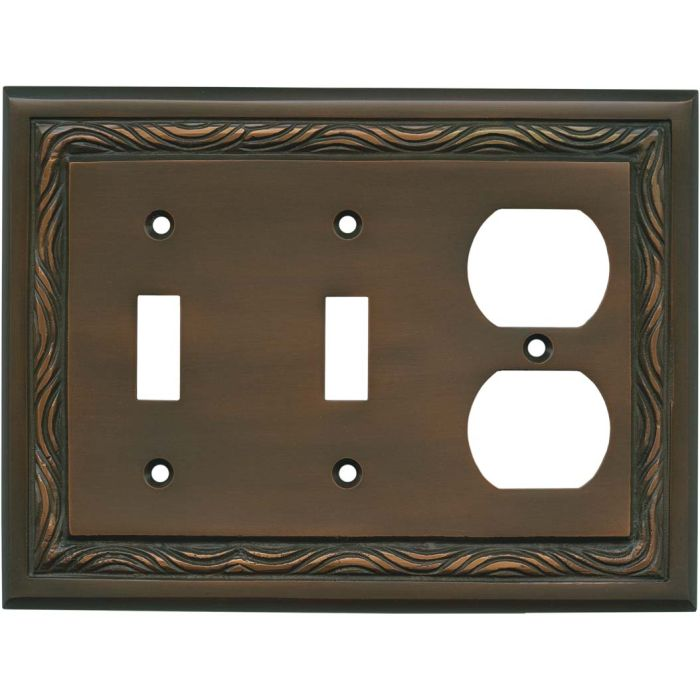Rope Accent Antique Copper - 2 Toggle/Outlet Combo Wallplates