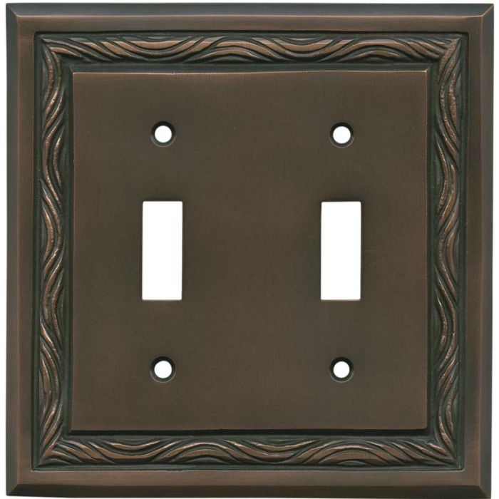 Rope Accent Antique Copper Double 2 Toggle Switch Plate Covers