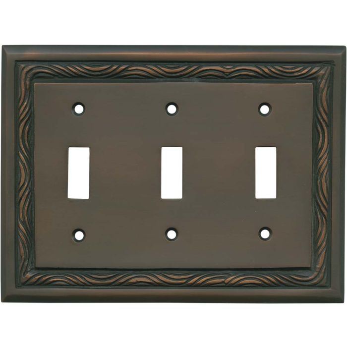 Rope Accent Antique Copper Triple 3 Toggle Light Switch Covers