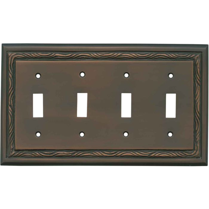 Rope Accent Antique Copper - 4 Toggle Light Switch Covers