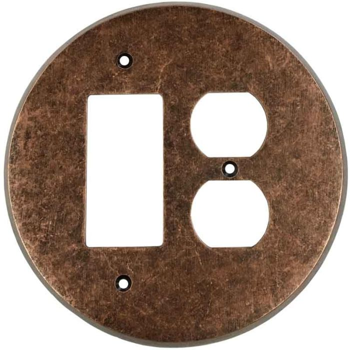 Round Mottled Antique Copper Combination GFCI Rocker / Duplex Outlet Wall Plates