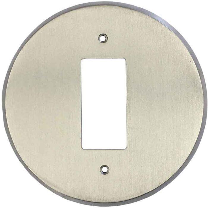 Round Satin Nickel Single 1 Gang GFCI Rocker Decora Switch Plate Cover