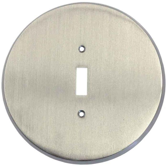 Round Satin Nickel Single 1 Toggle Light Switch Plates