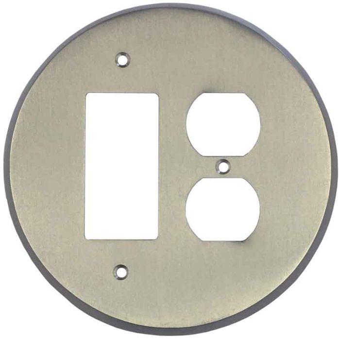 Round Satin Nickel Combination GFCI Rocker / Duplex Outlet Wall Plates