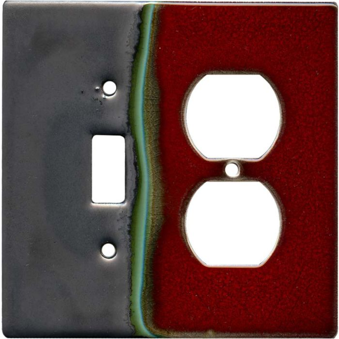 Ruby 1 Toggle Wall Switch Plate - Outlet Cover Combination