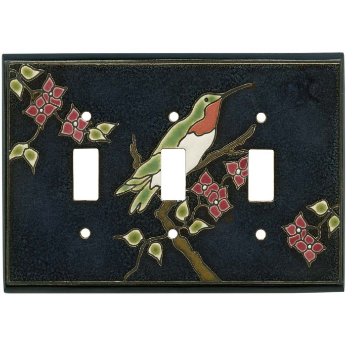 Ruby Hummingbird Ceramic Triple 3 Toggle Light Switch Covers