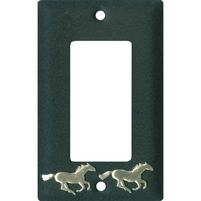 Running Horse Black Single 1 Gang GFCI Rocker Decora Switch Plate Cover