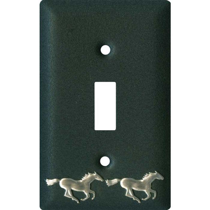 Running Horse Black Single 1 Toggle Light Switch Plates