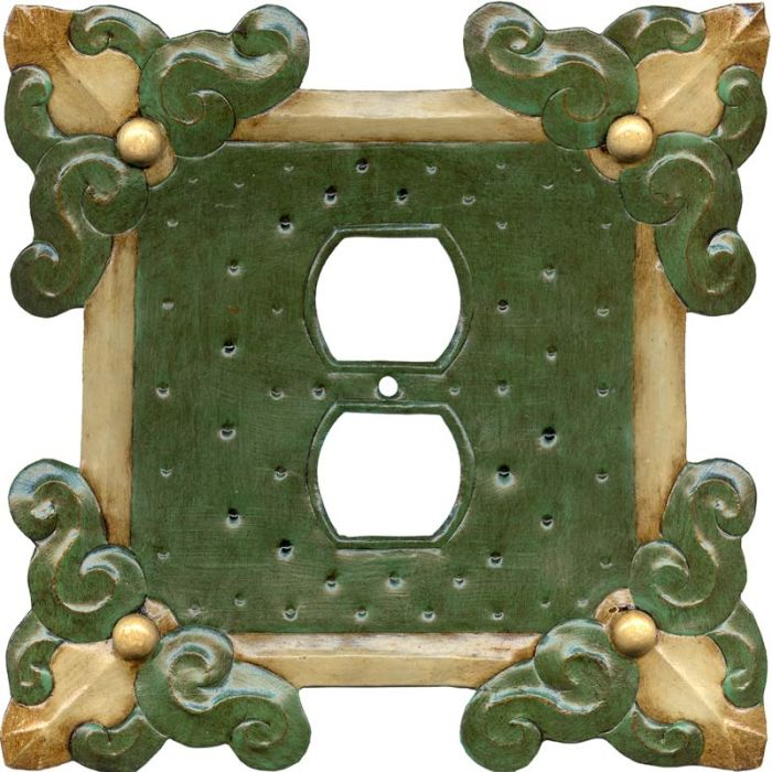 Russia Green1 - Gang Duplex Outlet Cover Wall Plate