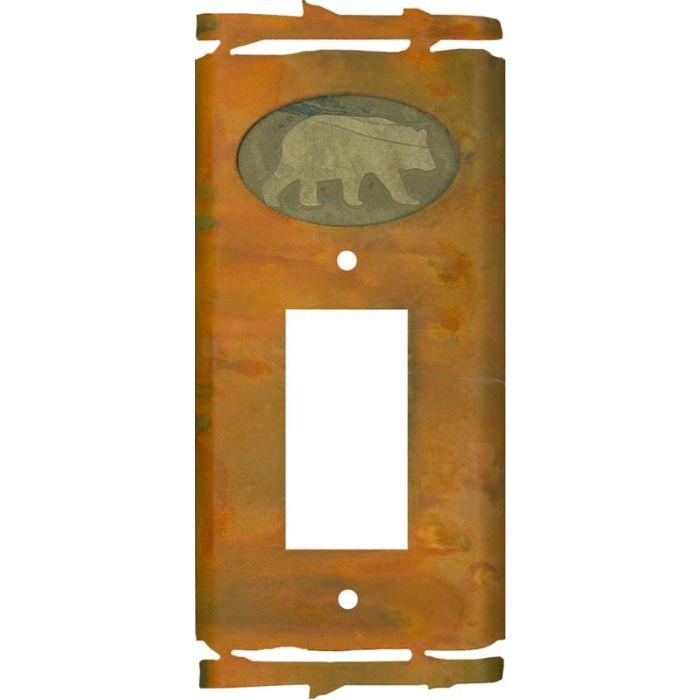 Rustic Bear Single 1 Gang GFCI Rocker Decora Switch Plate Cover