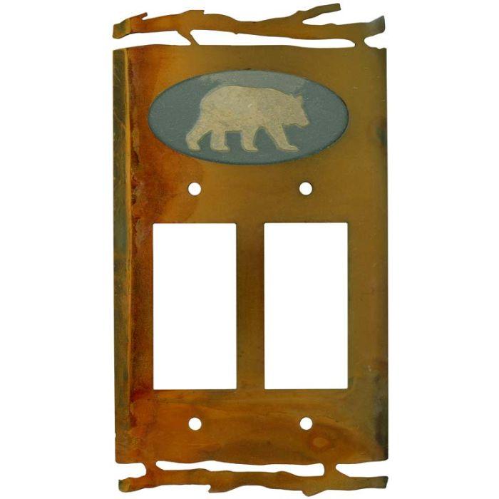 Rustic Bear 2 Gang Double GFCI Rocker Decorator Wallplates