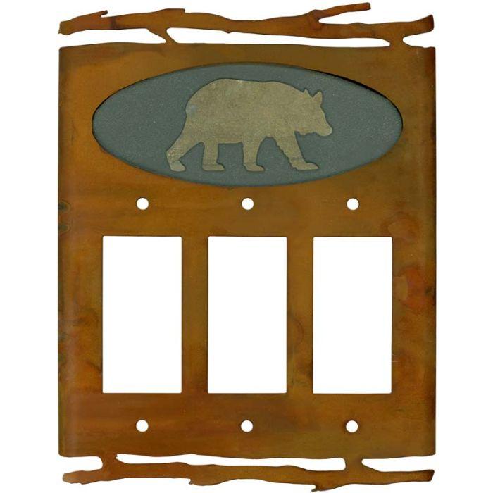 Rustic Bear Triple 3 Rocker GFCI Decora Light Switch Covers