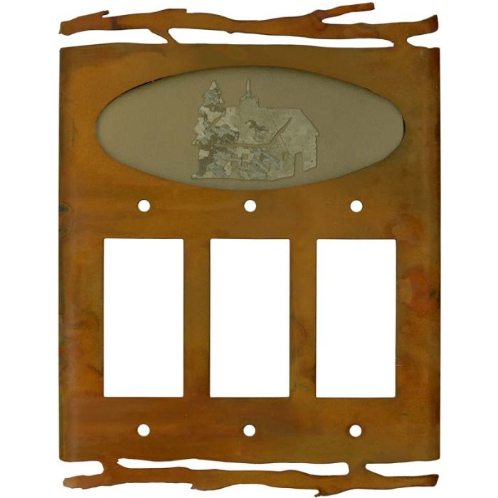 Rustic Cabin Triple 3 Rocker GFCI Decora Light Switch Covers