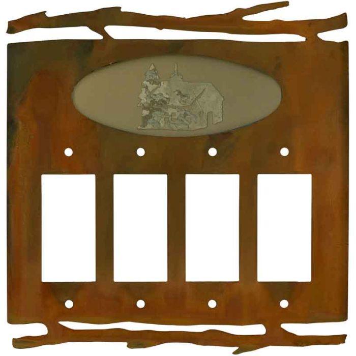 Rustic Cabin 4 Rocker GFCI Decorator Switch Plates