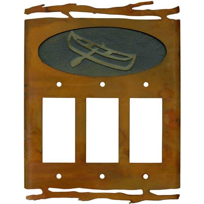 Rustic Canoe Triple 3 Rocker GFCI Decora Light Switch Covers