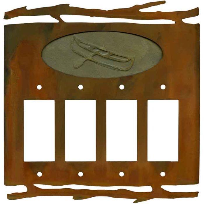 Rustic Canoe 4 Rocker GFCI Decorator Switch Plates
