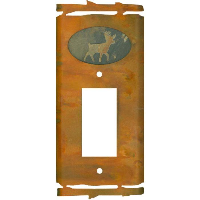 Rustic Deer Single 1 Gang GFCI Rocker Decora Switch Plate Cover