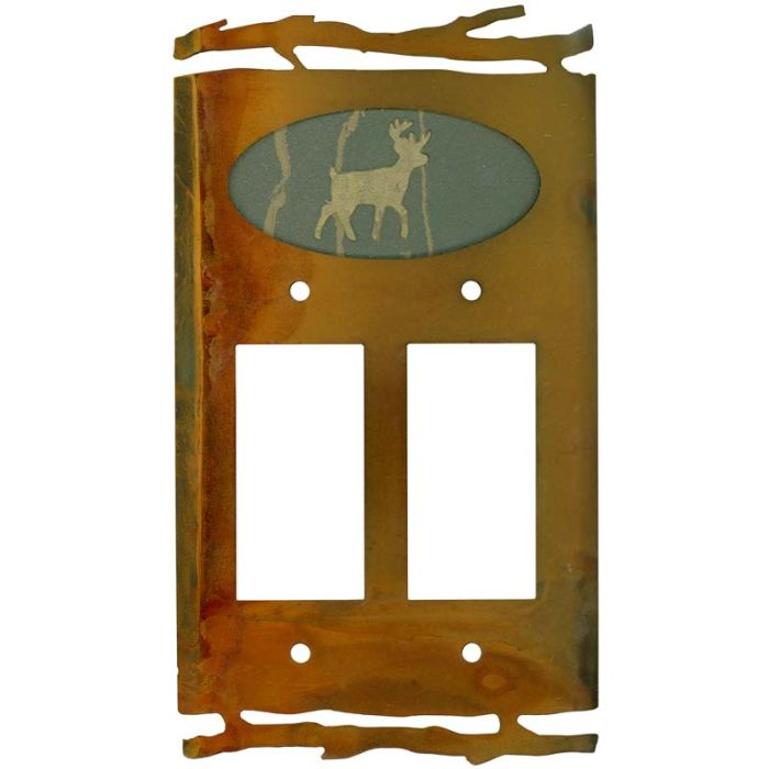 Rustic Deer 2 Gang Double GFCI Rocker Decorator Wallplates