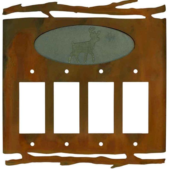 Rustic Deer 4 Rocker GFCI Decorator Switch Plates