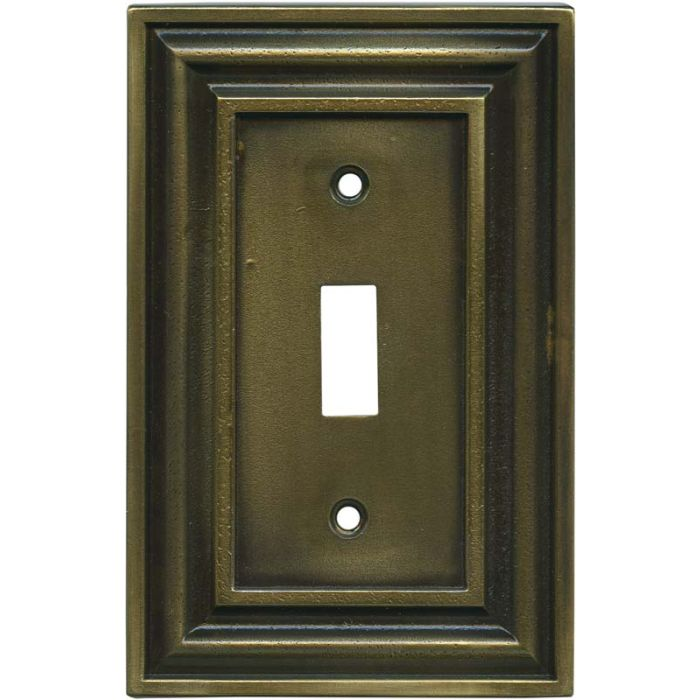 Brainerd Rustic Edges Tumbled Antique Brass Single 1 Toggle Light Switch Plates