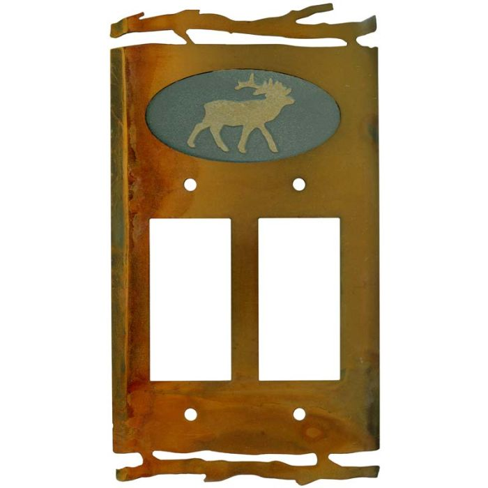Rustic Elk 2 Gang Double GFCI Rocker Decorator Wallplates