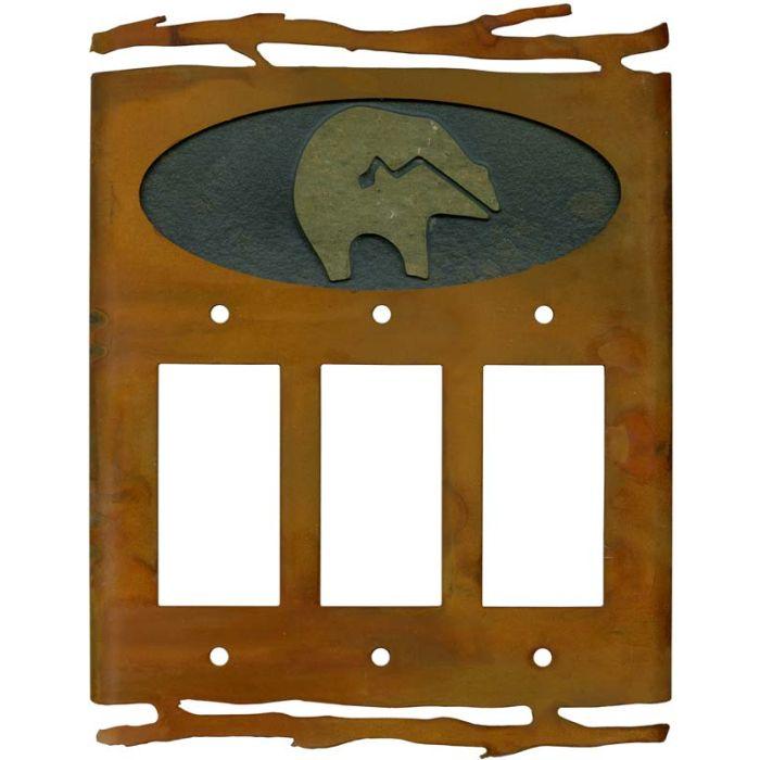 Rustic Fetish Bear Triple 3 Rocker GFCI Decora Light Switch Covers
