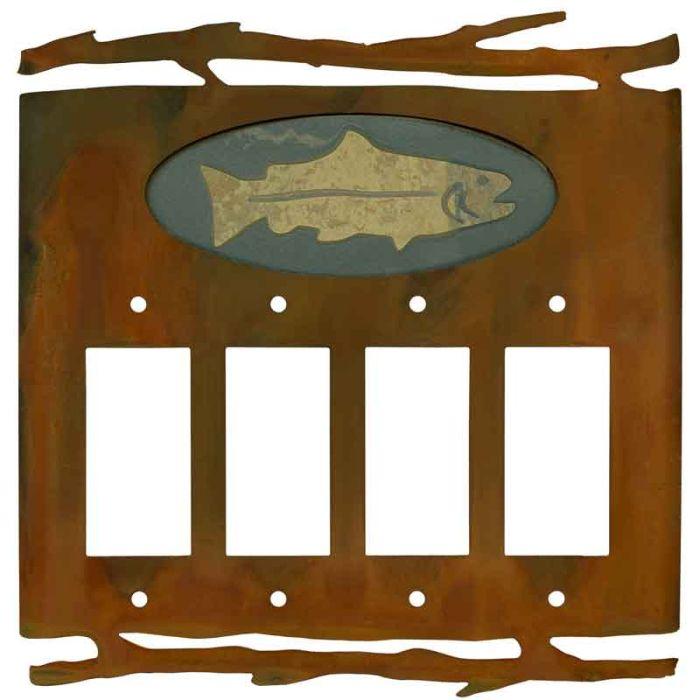 Rustic Fish 4 Rocker GFCI Decorator Switch Plates